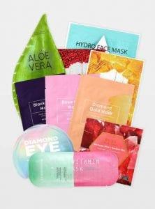 présentation des dix masques du paquet de masques visage pour dix jours