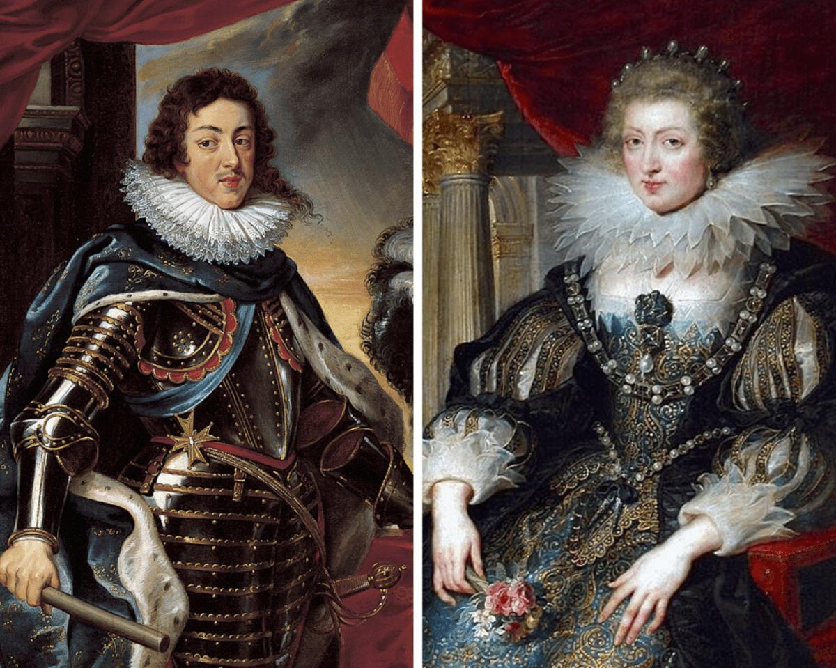 Portraits de Louis XIII et de la Reine d'Autriche, en costume princier, suggérant le port du corset.