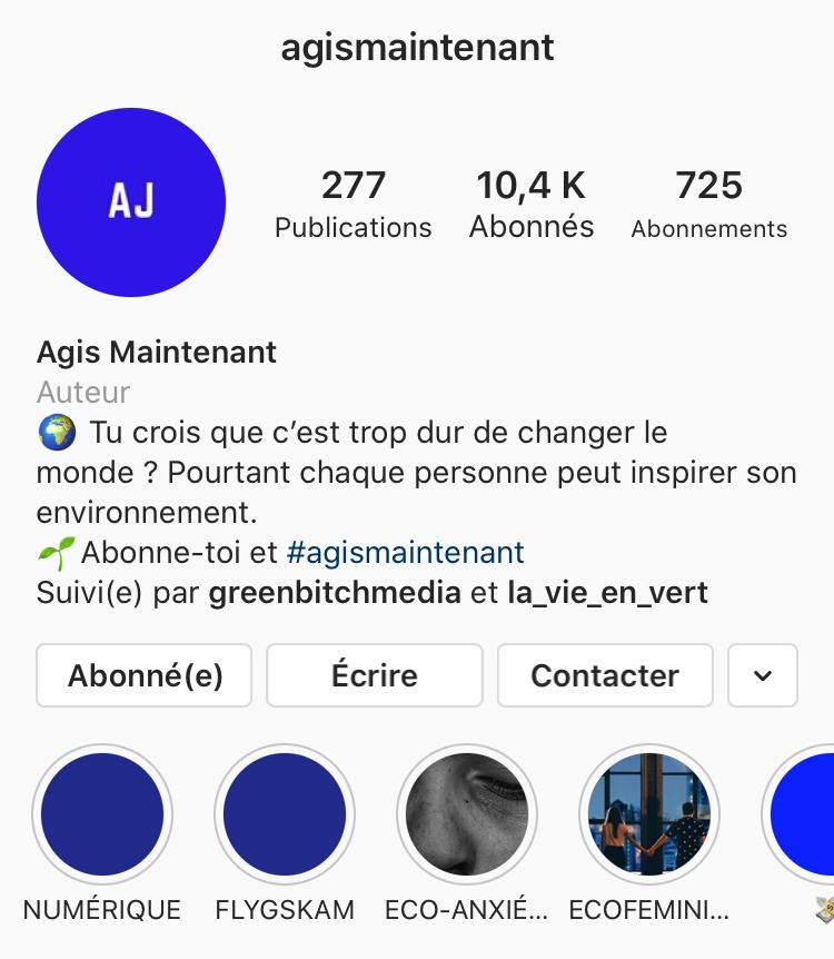compte instagram agismaintenant