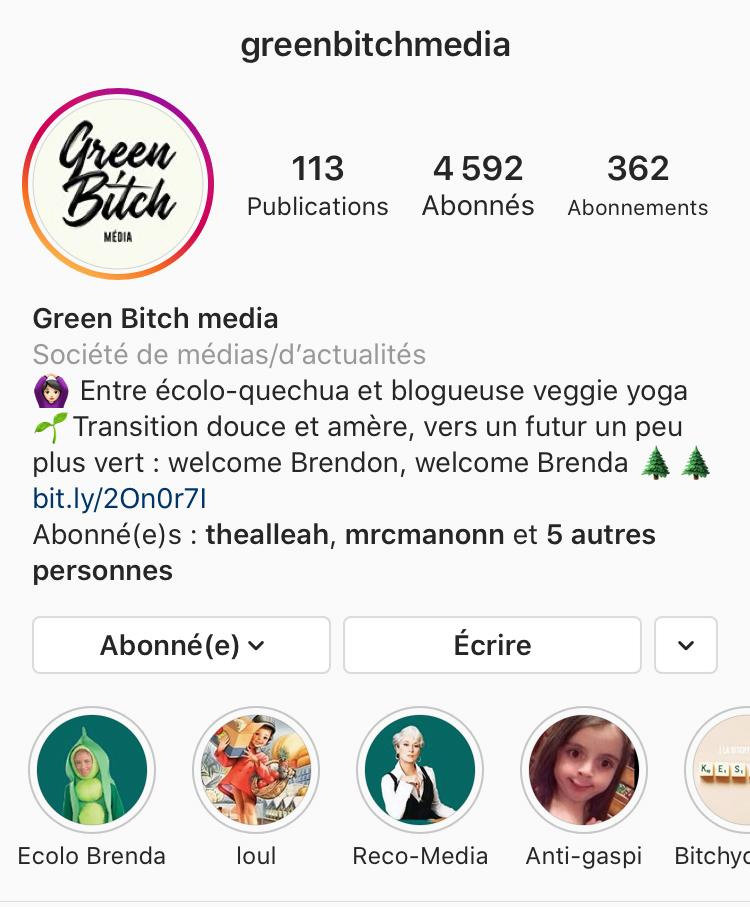 compte instagram greenbitchmedia
