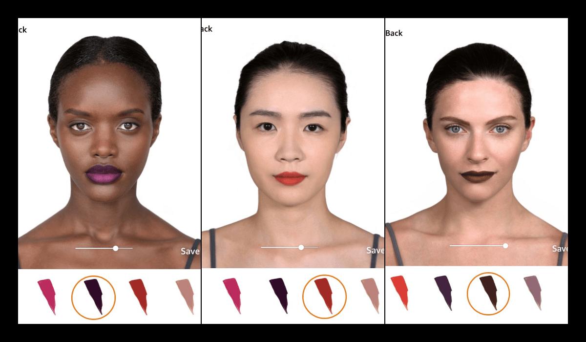 Modiface de L'Oréal try-on test sur des visages asiatiques, caucasiens et afro-américains.