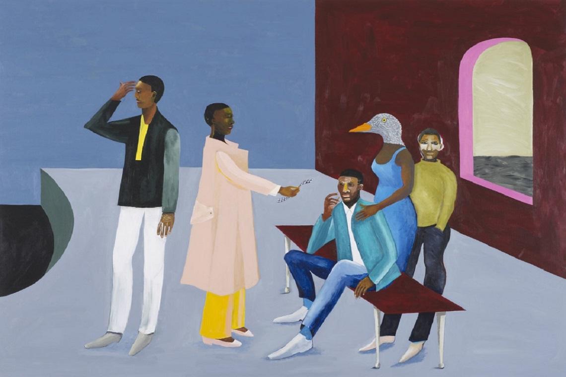 Le Rodeur: Exchange 2016. Oeuvre de la peintre britannique Lubaina Himid.