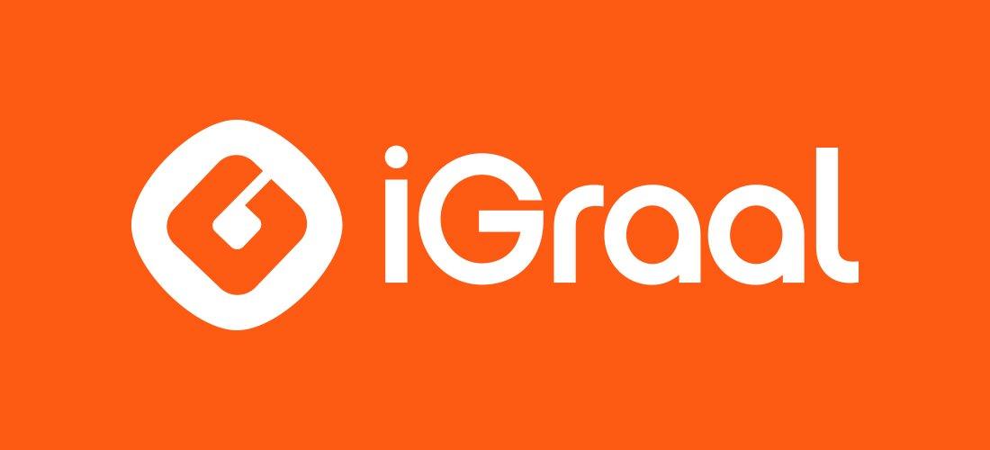 Logo de la marque écrit en blanc sur fond orange.