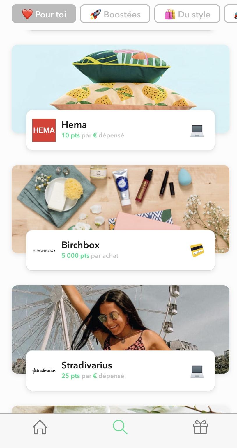 Exemple d'offres de l'application Joko