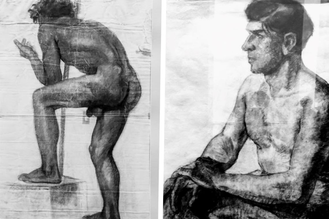 Soulages, Deux études d'après les Bergers d'Arcadie de Nicolas Poussin, 1941/42, Fusain sur papier, École des Beaux-Arts de Montpellier