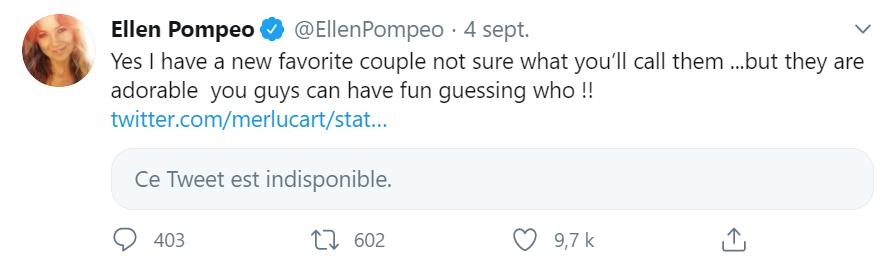 Tweet d'Ellen Pompeo (l'interprète de Meredith Grey dans Grey's Anatomy) sur les romances dans la saison 17