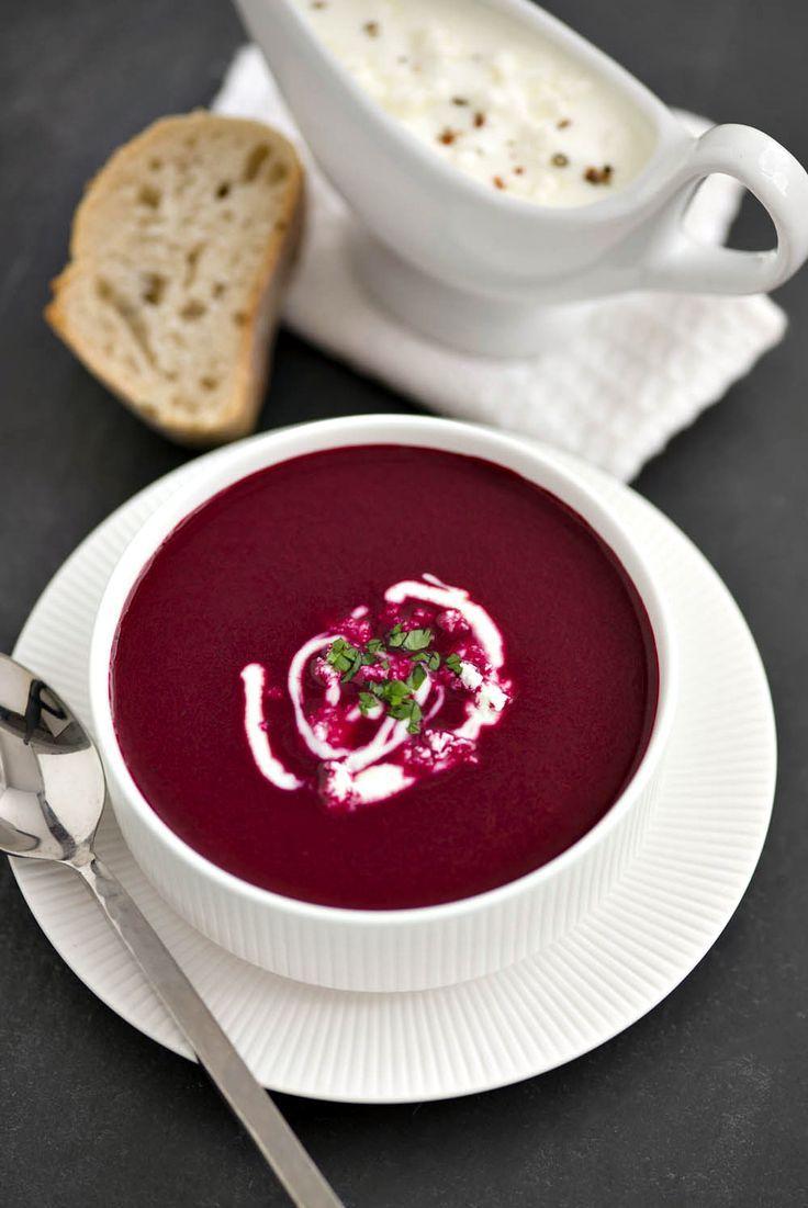 Soupe de betterave rouge et à la feta Source : recette-healthy.com