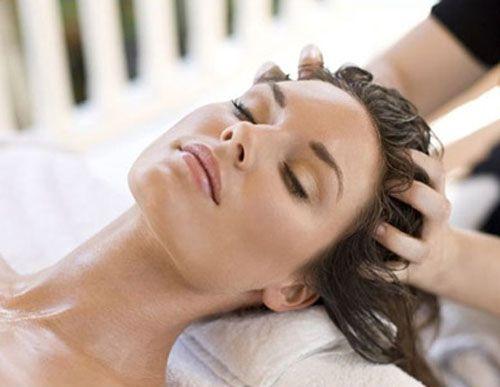 Massage, cheveux, soin, masque, huile végétale, huiles, huile.