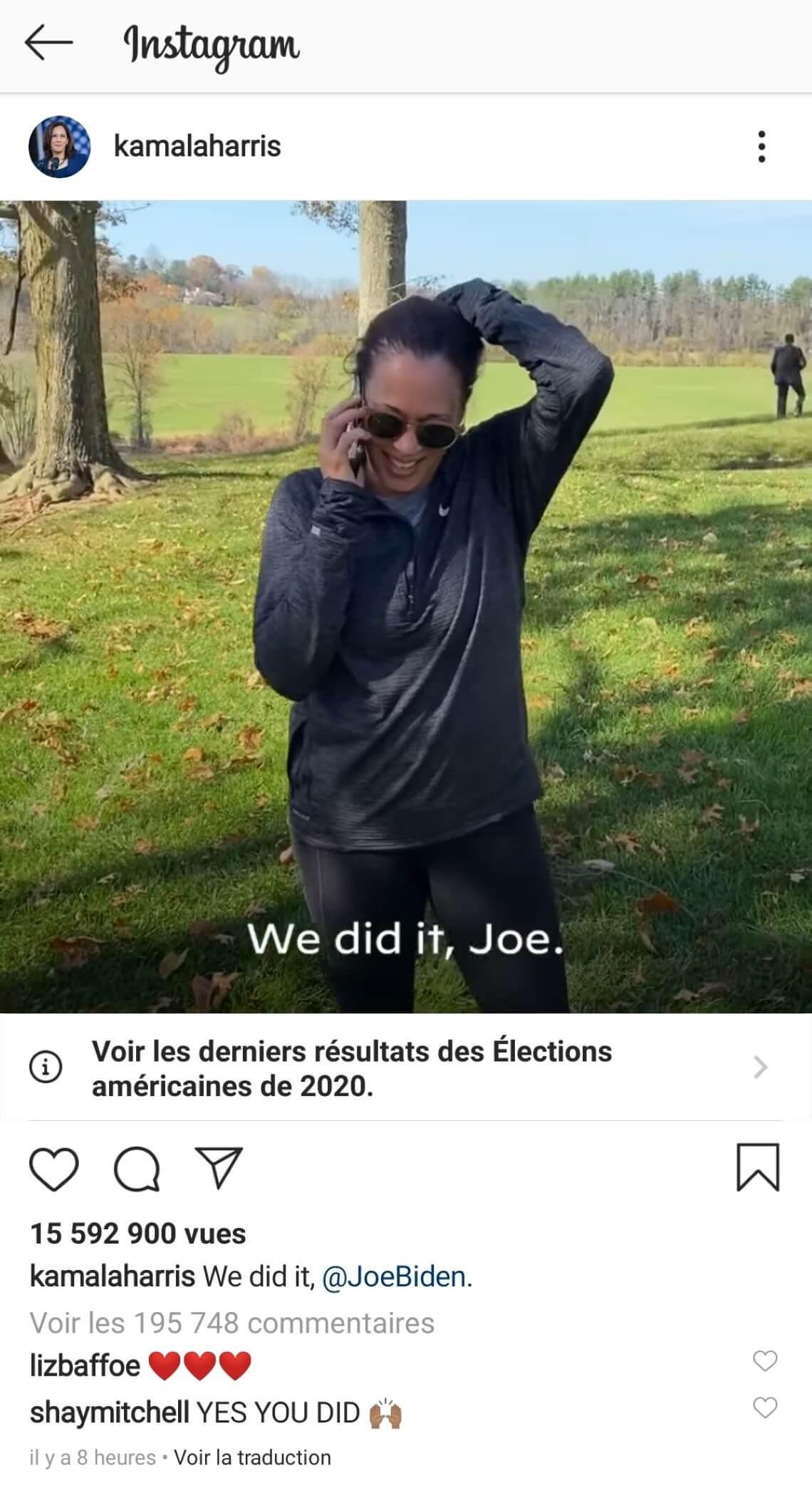 Compte Instagram de Kamala Harris : post officialisant la victoire