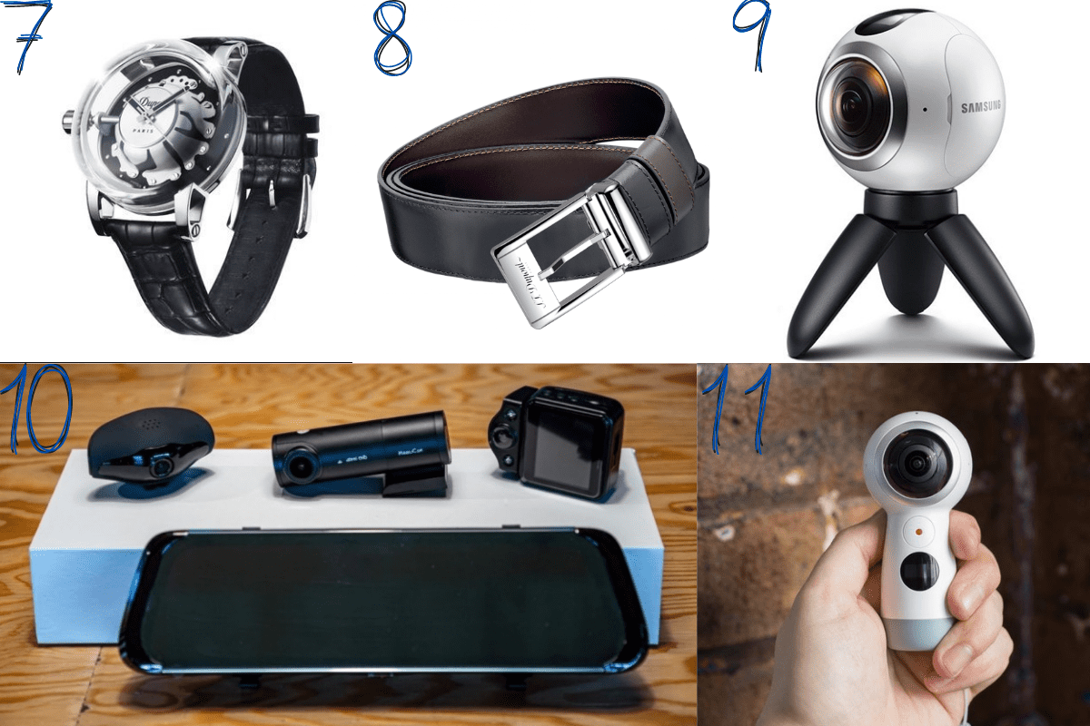 Cadeaux de Noël homme : montre hyperdome S.T. Dupont - Ceinture réversible S.T. Dupont - Caméra 360° 4K Samsung - Caméra embarquée Dashcam 360° Mobilicam.
