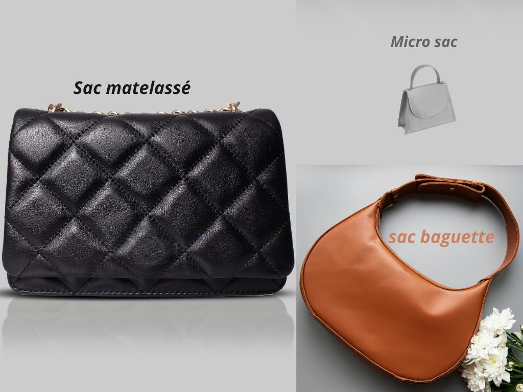 Les sacs tendances 2021: sac matelassé, micro sac et sac baguette.