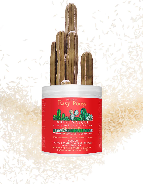 Les propriétés hydratantes, nourrissantes et réparatrices de l'huile de cactus se retrouvent dans les produits capillaires Shandrani Easy Pouss