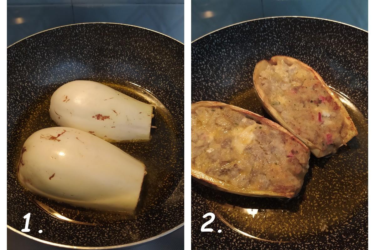 aubergines farcies - frire les moitiés