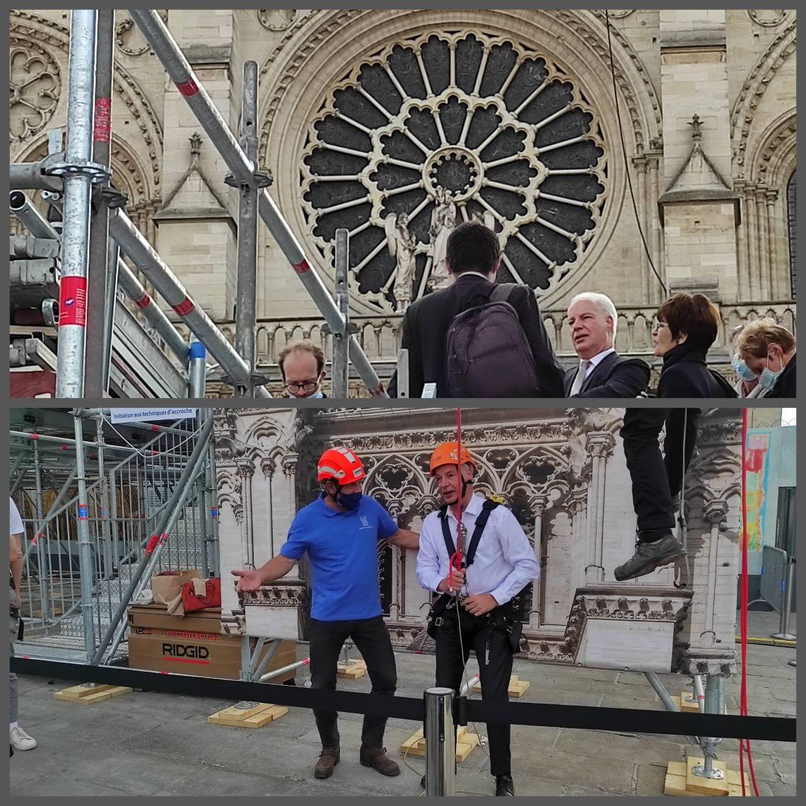 Visite d'Alain Griset, ministre des PME, sur le chantier de Notre-Dame le 19 septembre 2021