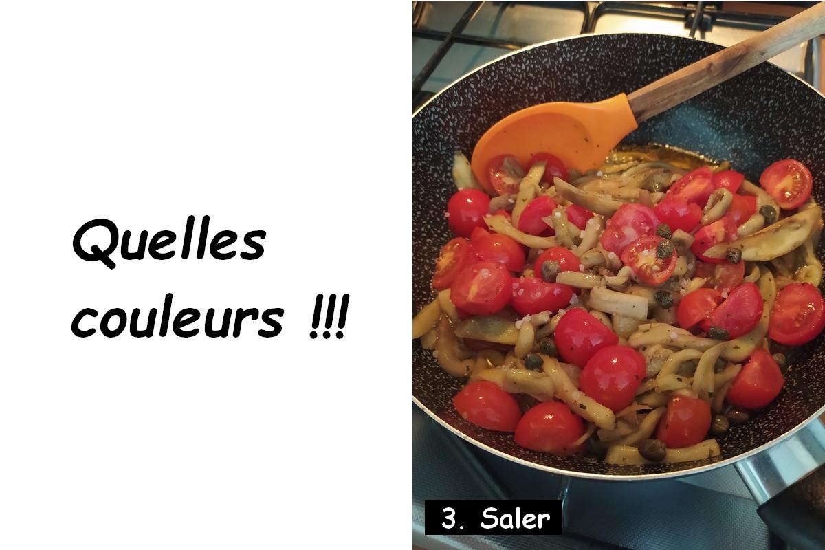 Spaghettis d'aubergines - sel, tomates et aubergines