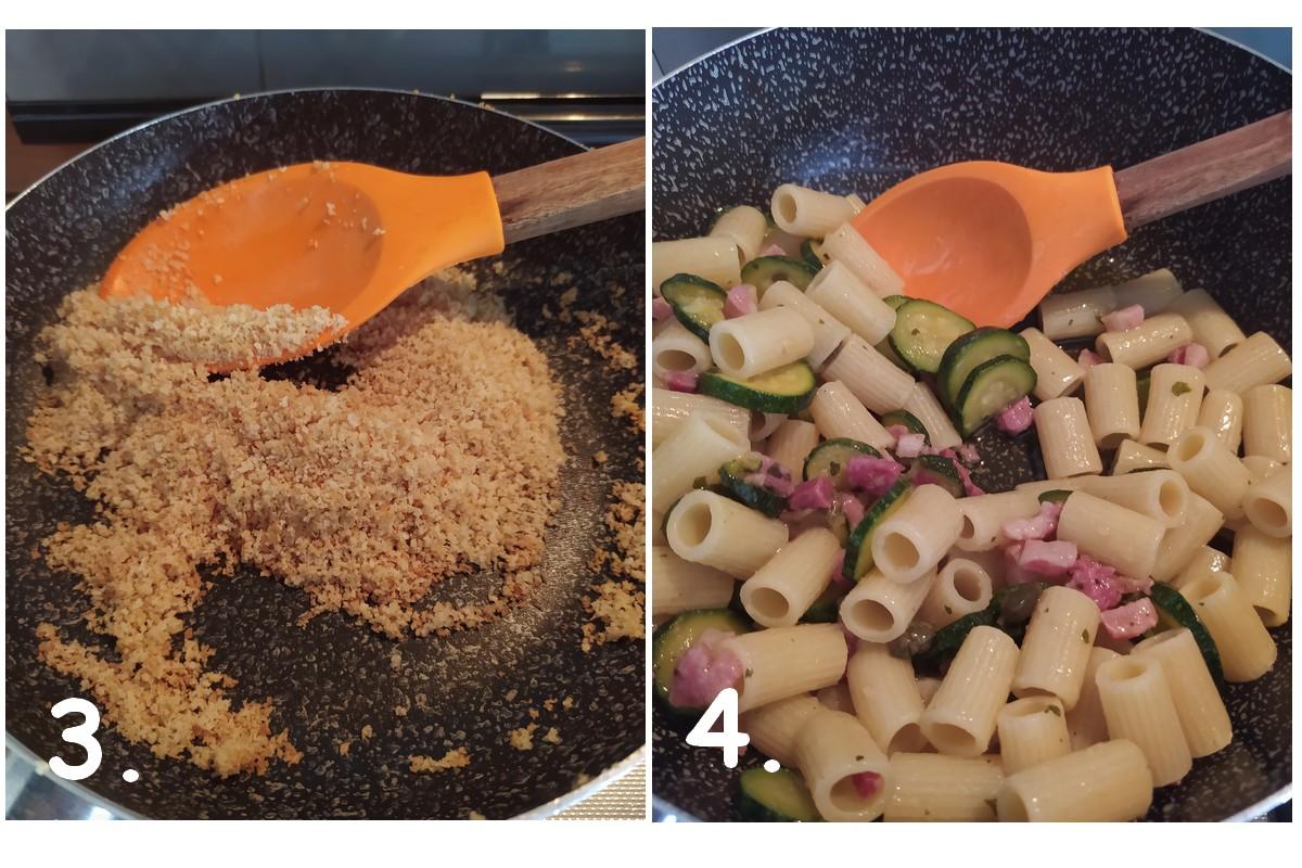 Chapelure frite avec des macaronis à cuire pour la recette.